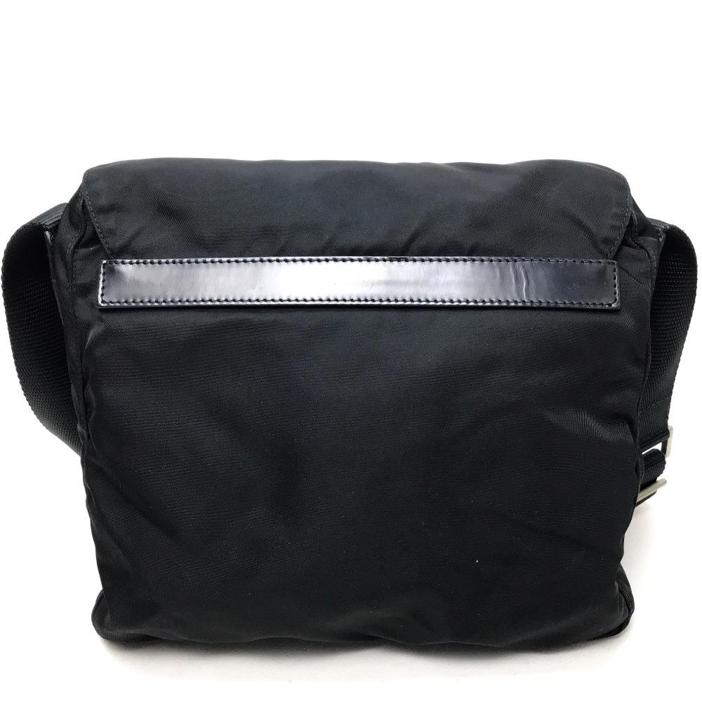 c7dd6fb97a2f PRADA Prada pochette logo plate men gap Dis shoulder bag nylon X leather /  black Lady's