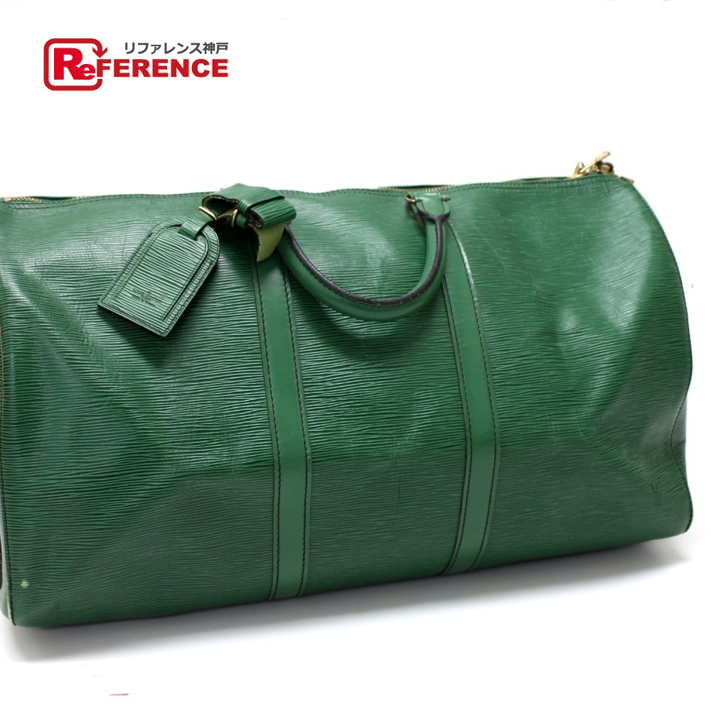 1a8c1d1a5ee AUTHENTIC LOUIS VUITTON Epi Keepall 50 Travel bag Duffle Bag Green Epi  Leather M42964