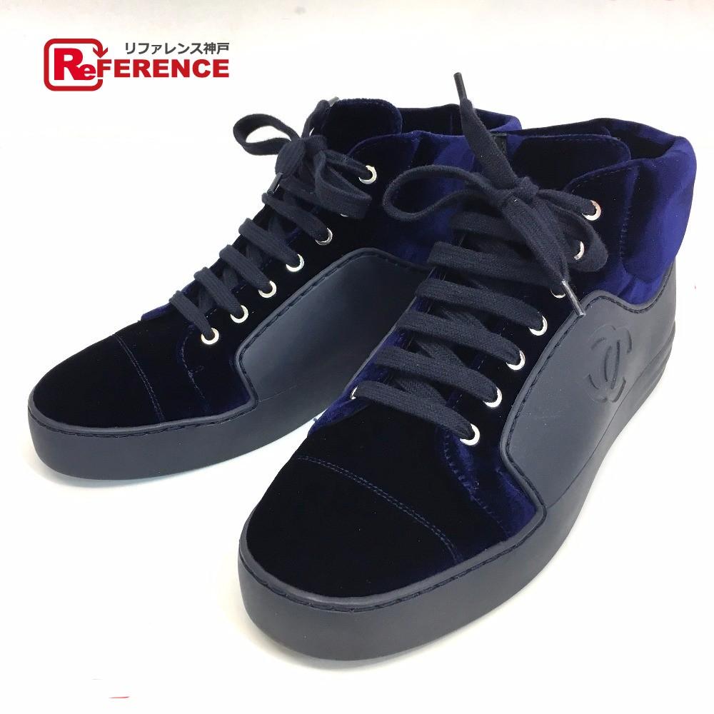 CHANEL シャネル 17A ハイカットシューズ 靴 CC スニーカー ベロア/ ネイビー レディース 新品同様【中古】