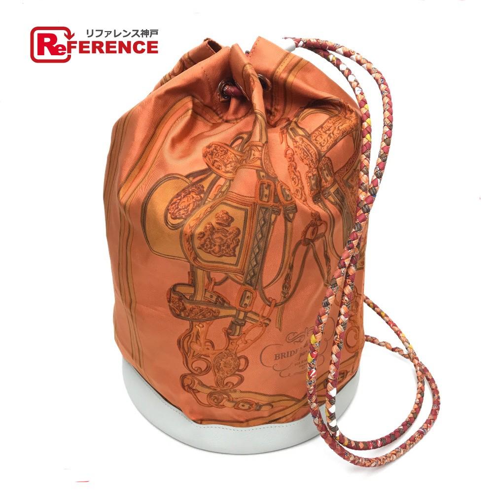 HERMES エルメス 巾着 ソワ・クール22  BRIDES de GALA 式典用馬勒 ショルダーバッグ シルク/レザー オレンジ系 レディース【中古】