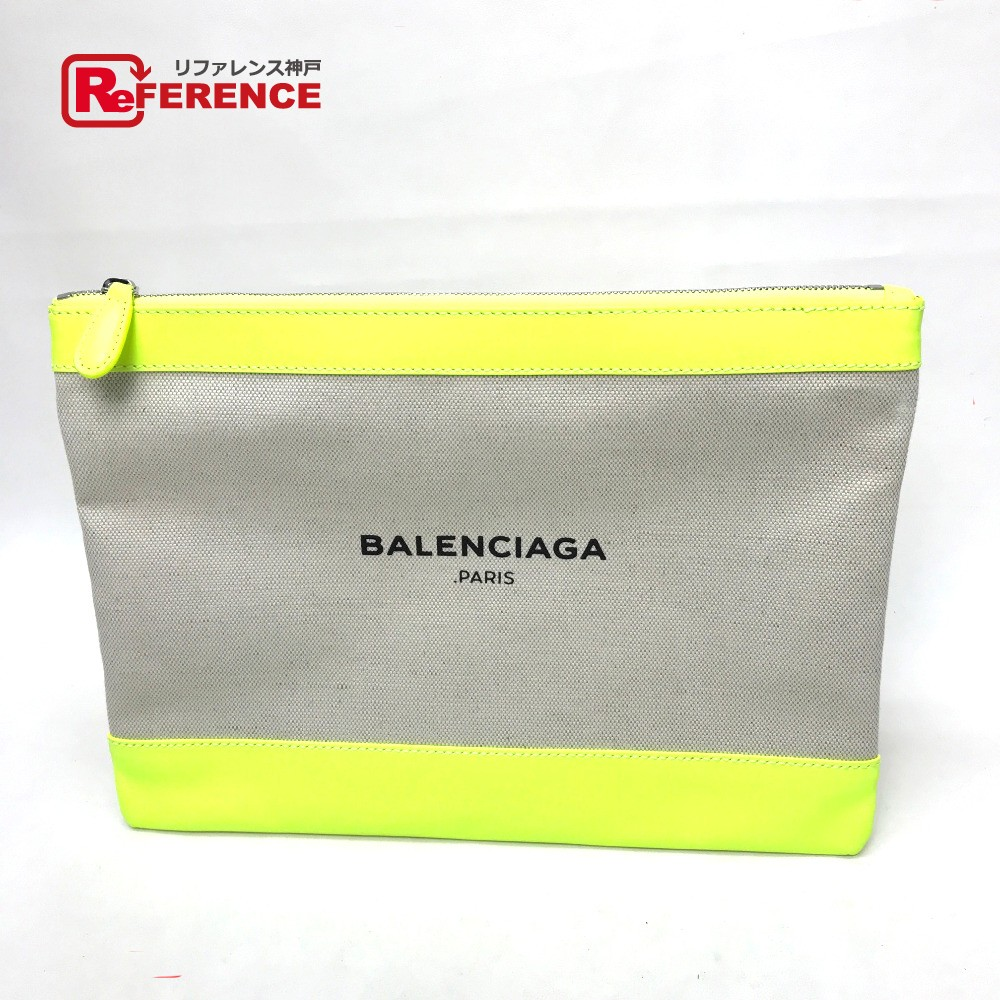 BALENCIAGA バレンシアガ 420407 ロゴ メンズ レディース クラッチバッグ キャンバス/レザー/ ネオンイエロー レディース【中古】