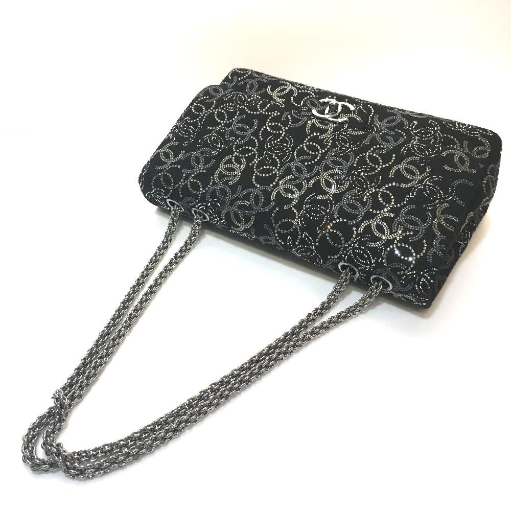 a06e4d21ee18 AUTHENTIC CHANEL CC CC Mark Paris Shanghai model Double Chain Shoulder Bag  Black/SilverHardware Rhinestone/fabric A48872