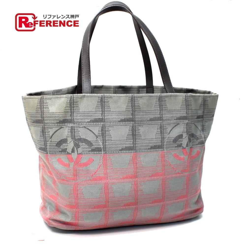 87a5edb5d74 AUTHENTIC CHANEL New travel line Tote MM gradation Shoulder Bag Tote Bag  gray pink Nylon jacquard A47148