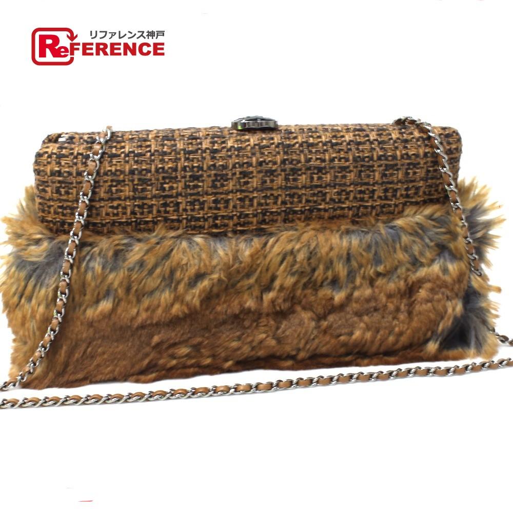 7904c46df7e8a8 AUTHENTIC CHANEL ChainShoulder Clutch bag Shoulder Bag Brown tweed/Faux fur