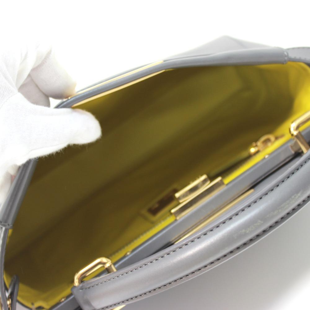 e023104dea5 ... AUTHENTIC FENDI Peekaboo Tote Bag Hand Bag Shoulder Bag 2way bag gray/ yellow Calf Leather