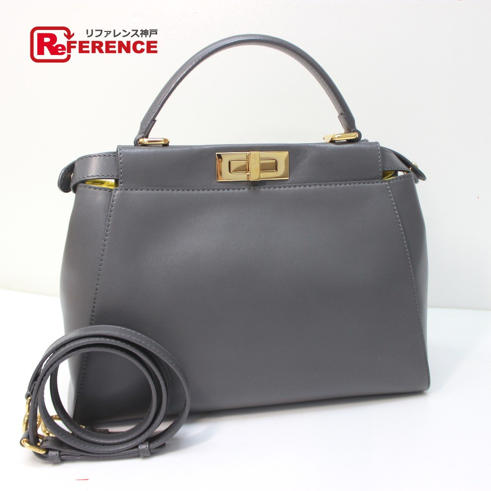 96b346fe AUTHENTIC FENDI Peekaboo Tote Bag Hand Bag Shoulder Bag 2way bag  gray/yellow Calf Leather Skin/ 8BN226