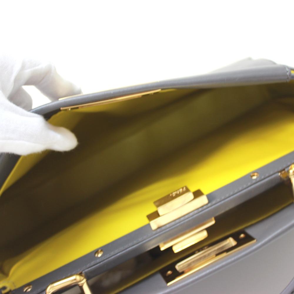 1e1f7a61e02 ... AUTHENTIC FENDI Peekaboo Tote Bag Hand Bag Shoulder Bag 2way bag gray/ yellow Calf Leather ...