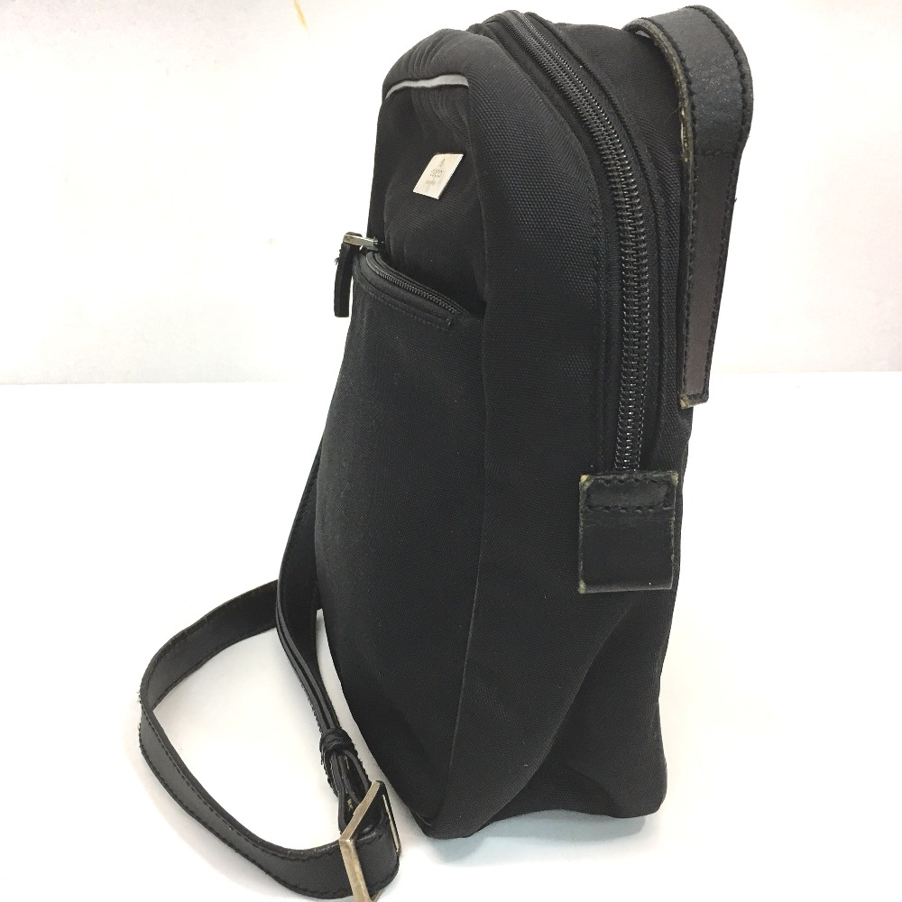 b523beb05ed1 ... AUTHENTIC GUCCI Silver plate Men's Women's Shoulder Bag Black Nylon x  Leather 018・1612 ...