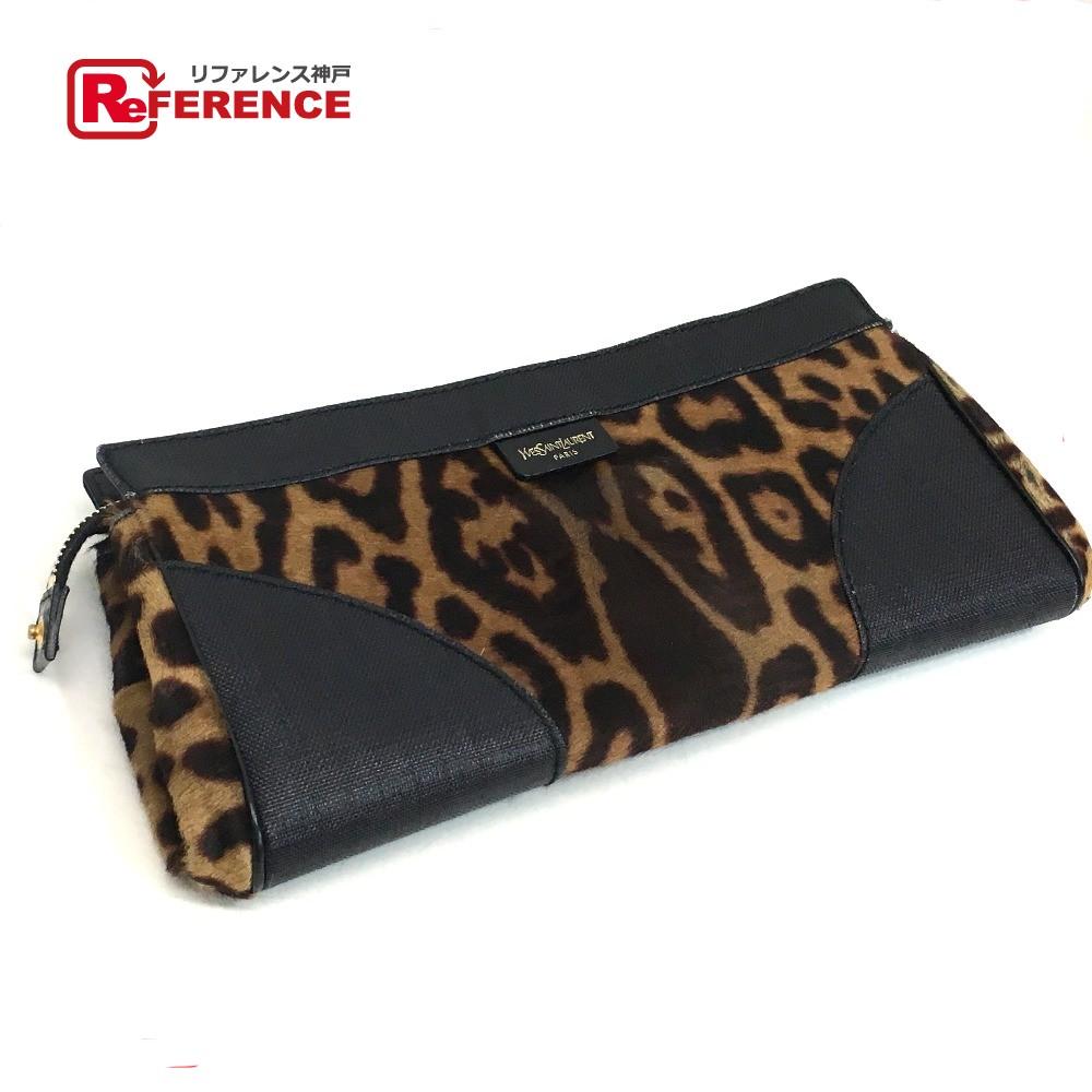 84e4f1473314 AUTHENTIC YVES SAINT LAURENT Pony-Hair Leopard pattern Men s Women s Clutch  bag Brown Black Pony-Hair