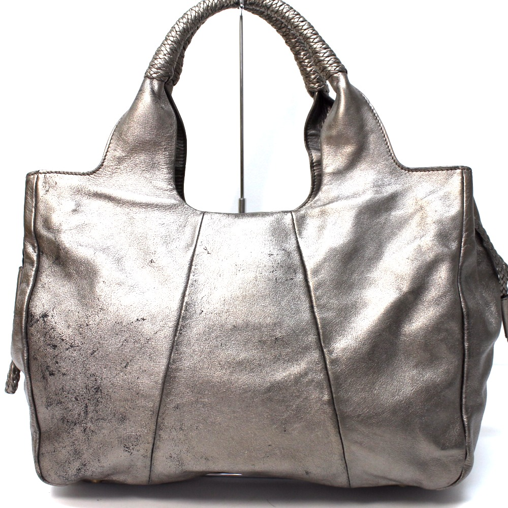 AUTHENTIC Salvatore Ferragamo Gancini Shoulder Bag Hand Bag Tote Bag gray Bronze  Leather fd00e6d2765d6