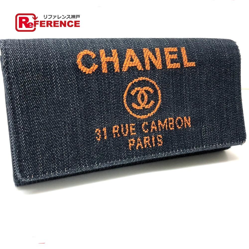CHANEL シャネル A80053 2つ折り長財布 ドーヴィル 長財布(小銭入れあり) デニム/ ネイビー レディース【中古】