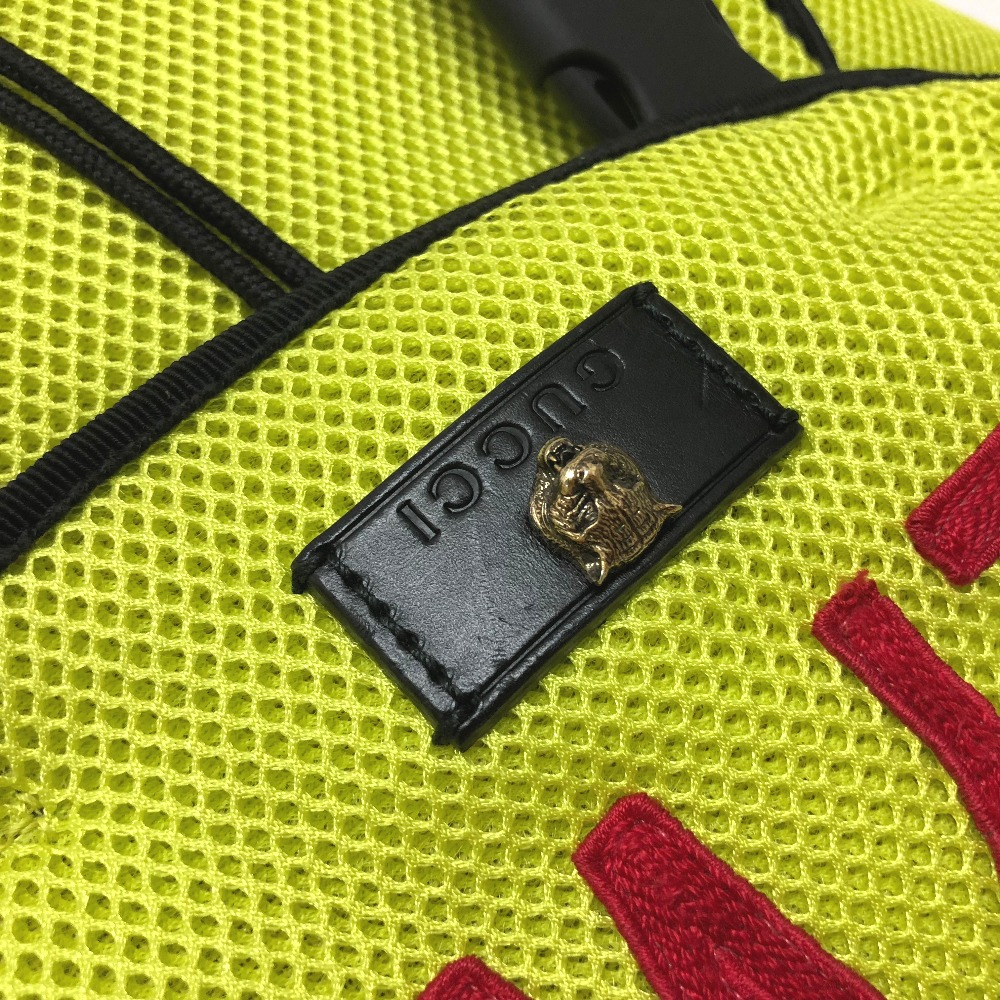 516fc9077e85fb ... AUTHENTIC GUCCI HOLLYWOOD with embroidery applique Backpack Techpack  Backpack-Bag yellow Nylon mesh/ 429037 ...
