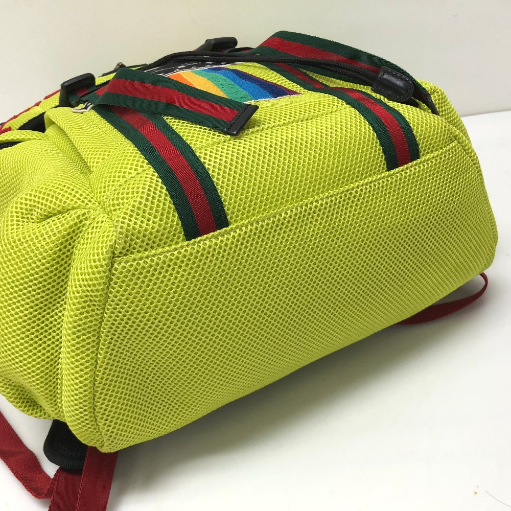 d3d9640cd38 AUTHENTIC GUCCI HOLLYWOOD with embroidery applique Backpack Techpack  Backpack-Bag yellow Nylon mesh  429037