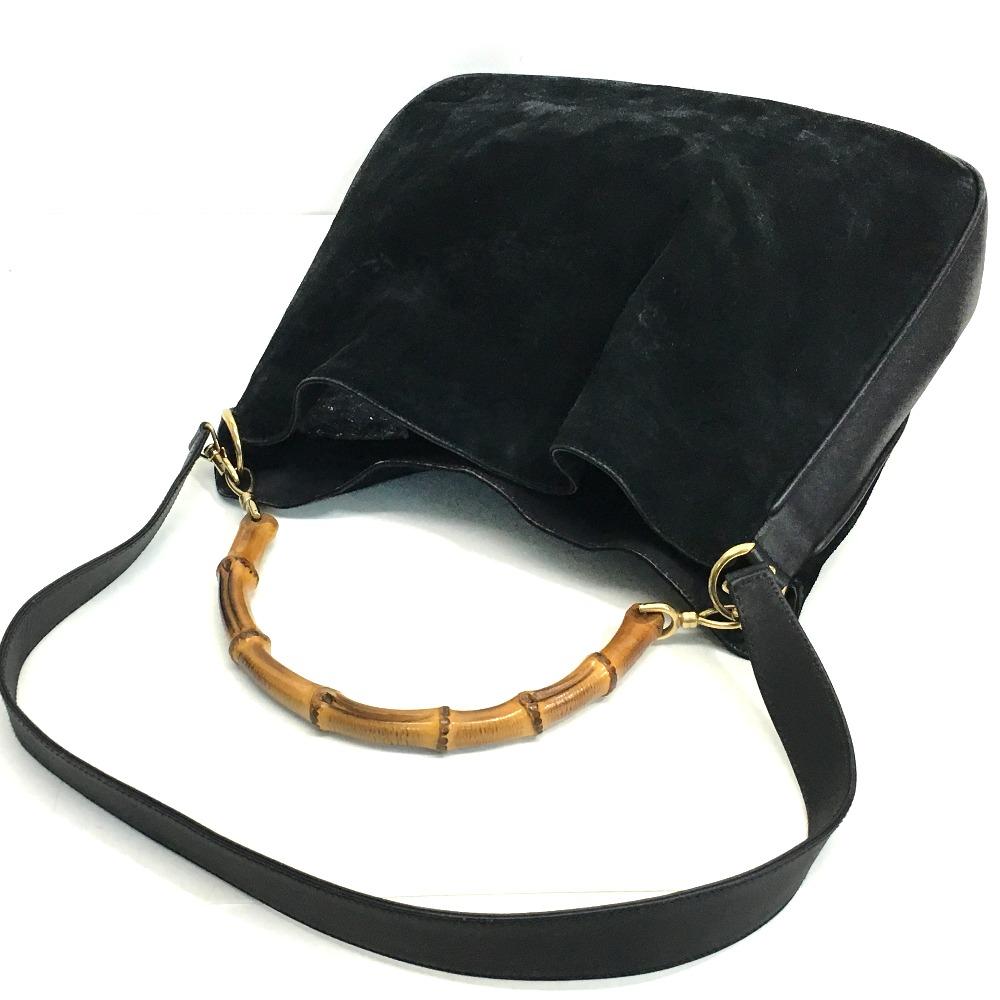 d9d594ac6b38 ... GUCCI Gucci 0012058 shoulder bag handbag bamboo steering wheel 2way bag  suede x leather / bamboo ...