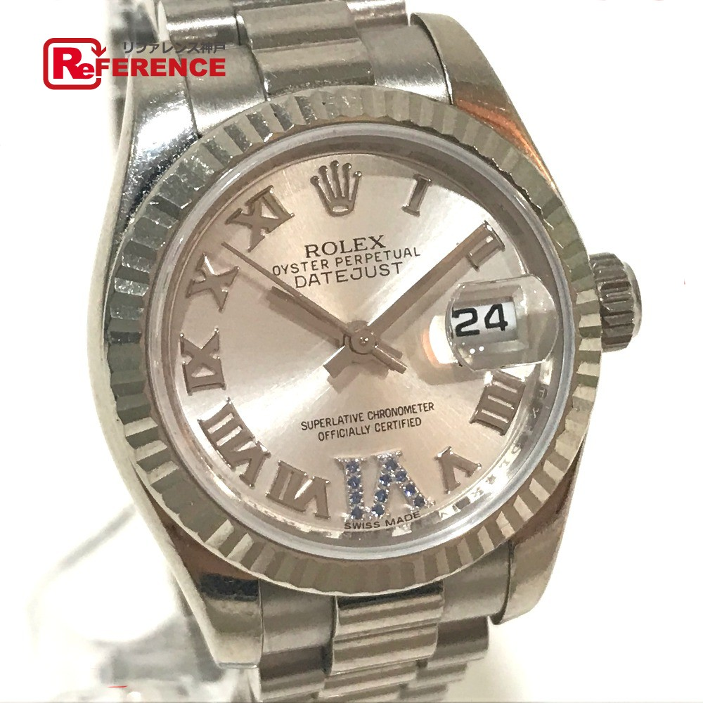ROLEX ロレックス 179179 レディース腕時計 インデックス サファイア11P デイトジャスト 腕時計 K18WG/サファイア ホワイトゴールド レディース【中古】