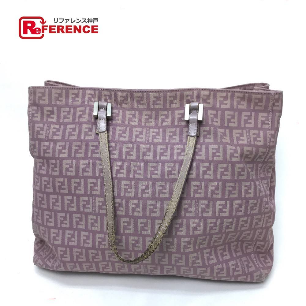 ed80a51391 AUTHENTIC FENDI Zucca pattern vintage Tote Bag Shoulder Bag Light Purple  Based Canvas x Leather/E1