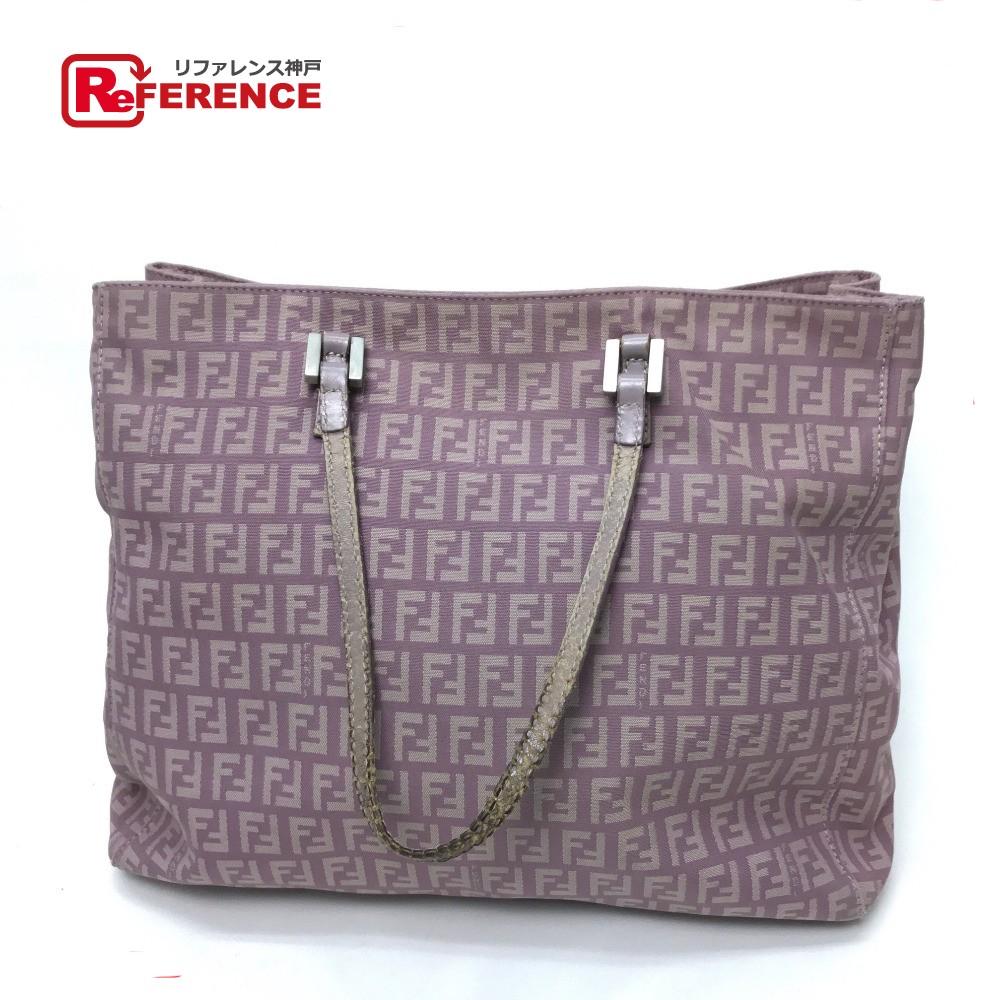 5c1bab026255 BRANDSHOP REFERENCE  AUTHENTIC FENDI Zucca pattern vintage Tote Bag  Shoulder Bag Light Purple Based Canvas x Leather E1