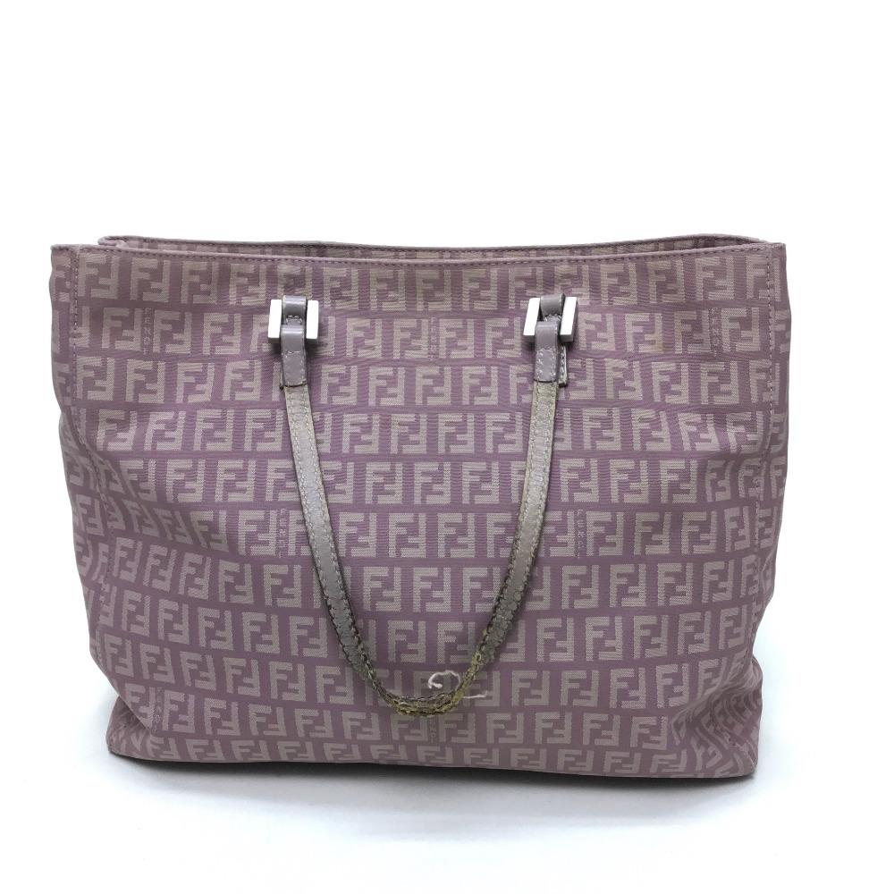 98c6cf13f67 ... AUTHENTIC FENDI Zucca pattern vintage Tote Bag Shoulder Bag Light  Purple Based Canvas x Leather/ ...