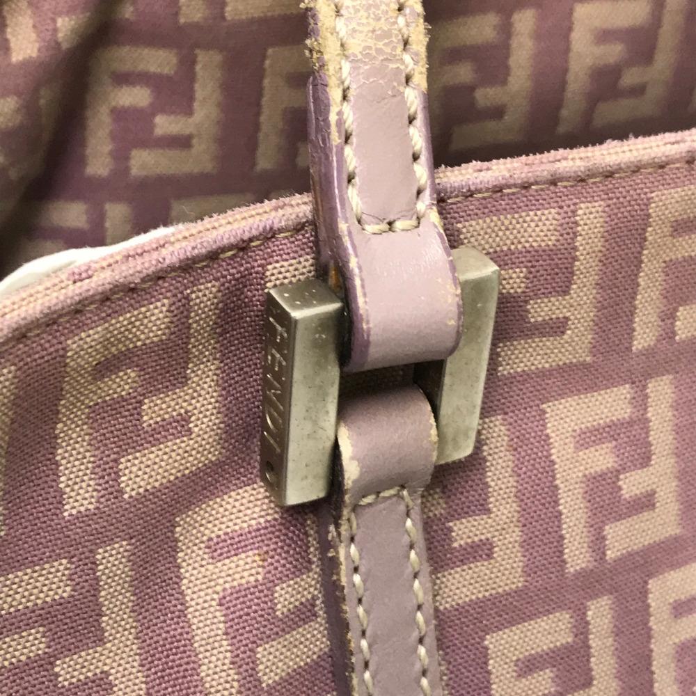 b3af5f734d35 AUTHENTIC FENDI Zucca pattern vintage Tote Bag Shoulder Bag Light Purple  Based Canvas x Leather E1