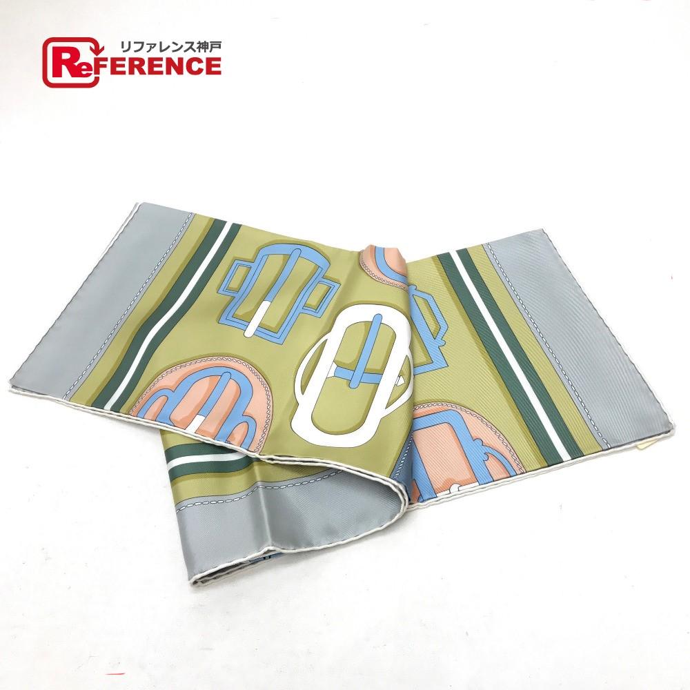 HERMES エルメス カレ 90 BOUCLERIE MODERNE(モダンなバックル) スカーフ シルク/ グレー系 未使用【中古】