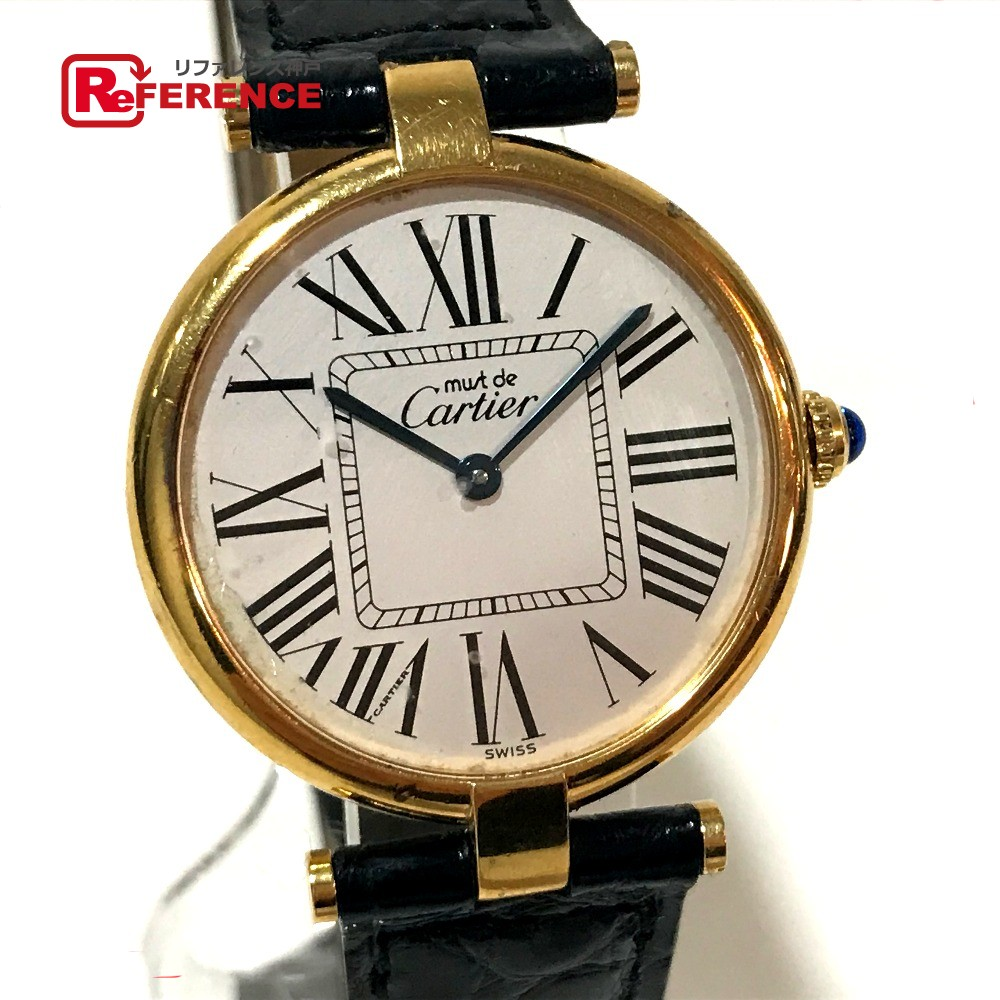 CARTIER カルティエ レディース腕時計 マスト ヴァンドーム ヴェルメイユ 腕時計 SV925/革ベルト ゴールド レディース【中古】