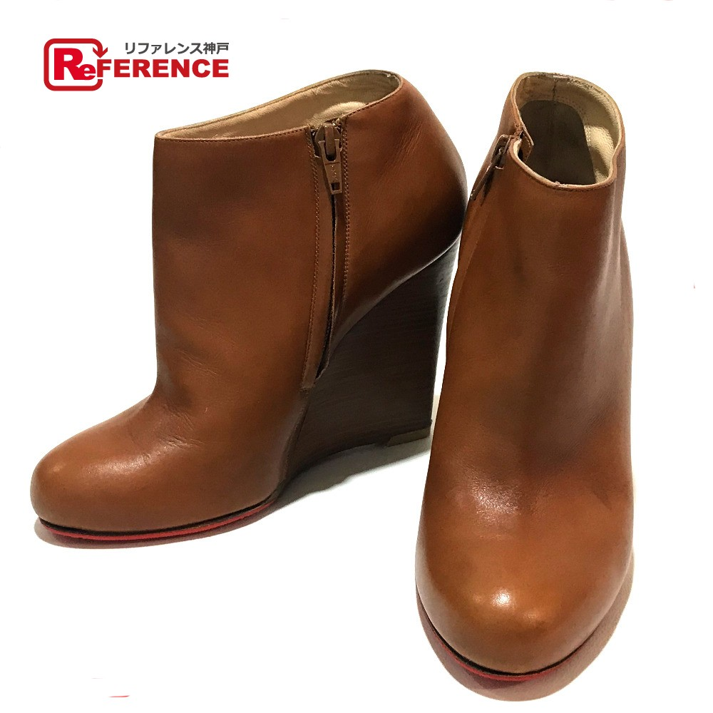 various colors f471d afc77 AUTHENTIC Christian Louboutin apparel short boots Heel boots Brown Leather 7