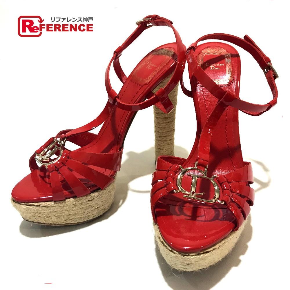 f2f7df73ddf AUTHENTIC Christian Dior strap CDHardware Heel Sandals Red enamel Printed:  37 1/2