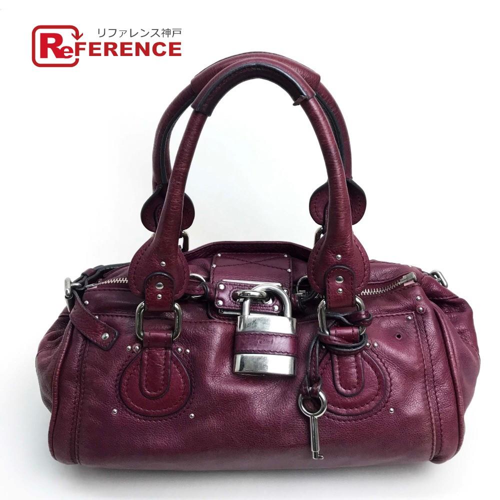AUTHENTIC Chloe Paddington Women s Bag Hand Bag purple SilverHardware  Leather a9d1ec8d2