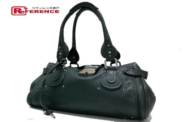 79bf37e1 AUTHENTIC Chloe Paddington Women's Bag Hand Bag Dark Green/SilverHardware  Leather 6HSA02