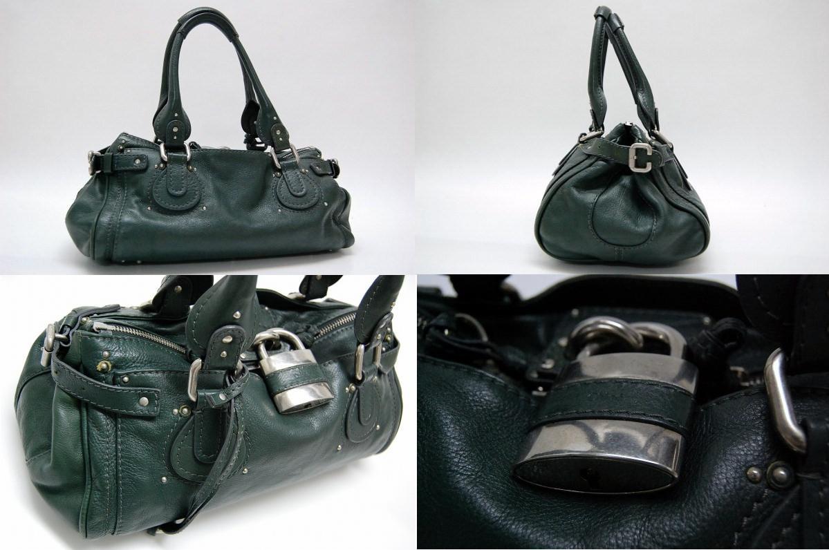 AUTHENTIC Chloe Paddington Women s Bag Hand Bag Dark Green SilverHardware  Leather 6HSA02 edd7b9fea