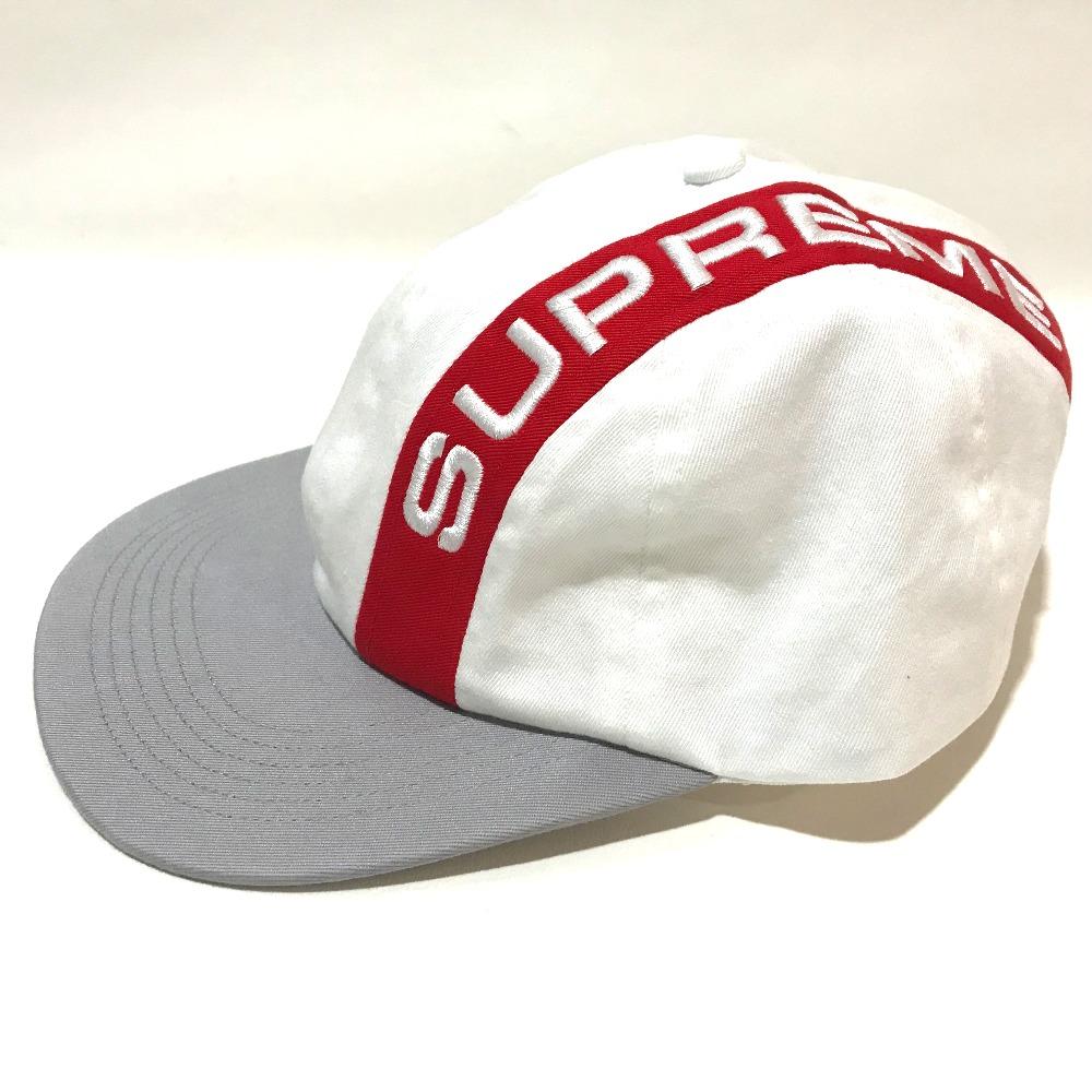 6996da69 ... AUTHENTIC Supreme Unused logo Cap cap 18 AW Stripe 6-Panel hat  White/Red ...