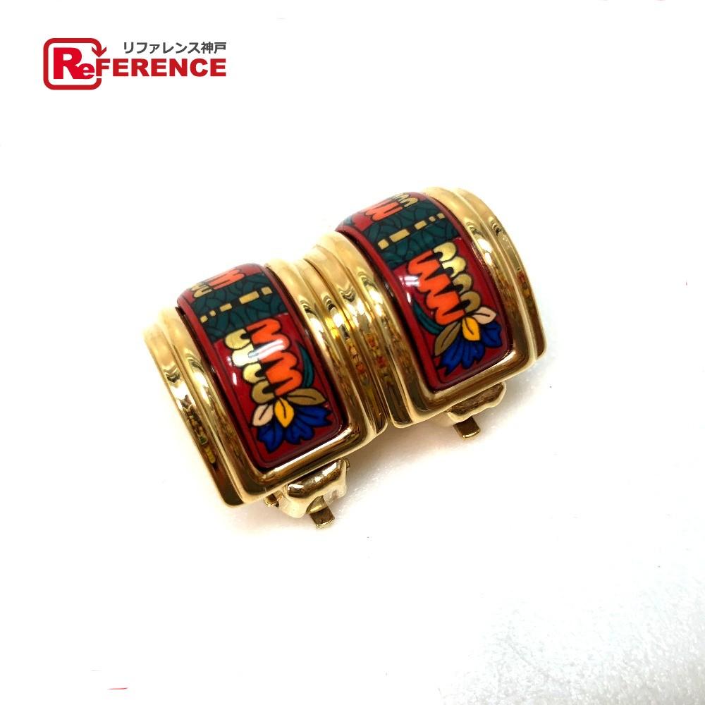 HERMES エルメス アクセサリー エマイユ イヤリング 七宝焼き/GP レッド系 レディース【中古】
