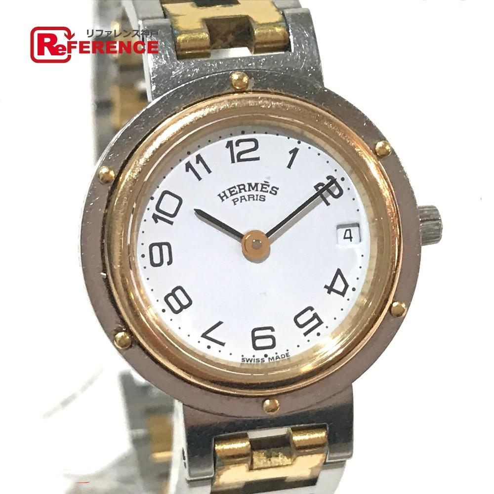 HERMES エルメス CL4.220 レディース腕時計 クリッパー コンビ 腕時計 SS/GP シルバー レディース【中古】