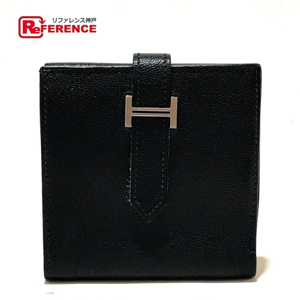 HERMES エルメス メンズ レディース レクトベルソ 短財布 二つ折り財布(小銭入れあり) シェーブル ブラック ユニセックス【中古】