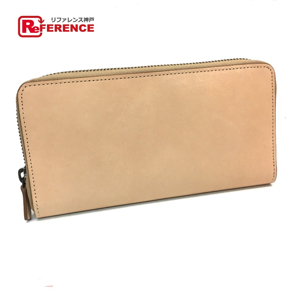 AUTHENTIC Muji Unused Leather Men s Women s Zip Around Long Wallet Long  Wallet (with Coin Compartment) Beige Leather 5232312350af2