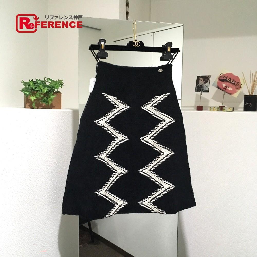 CHANEL シャネル ボトムス サイドダブルzip 16K スカート ブラック レディース 未使用【中古】