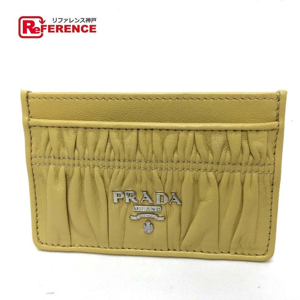 PRADA プラダ 1MC208 パスケース 名刺入れ カードケース レザー イエロー レディース【中古】