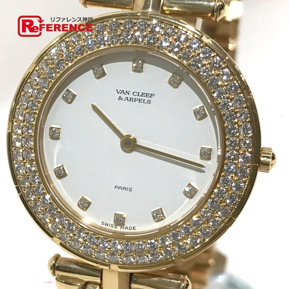 Van Cleef & Arpels ヴァンクリーフ&アーペル 13107 ボーイズ腕時計 ダイヤベゼル 12Pダイヤ 金無垢 スポーツ2 腕時計 K18YG イエローゴールド ボーイズ 新品同様【中古】