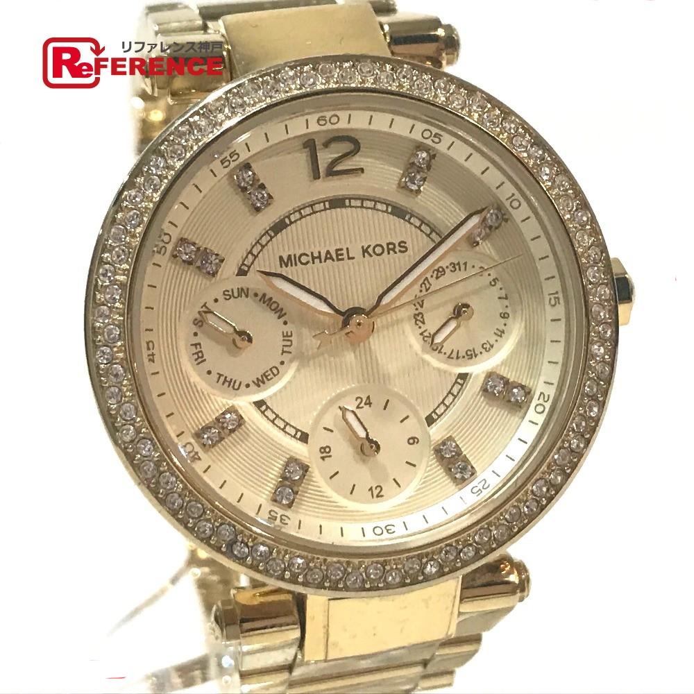Michael Kors マイケルコース MK-6056 ボーイズ腕時計 ミハエル ラインストーン 腕時計 SS ゴールド ボーイズ【中古】