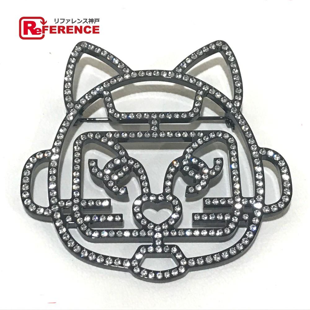 CHANEL シャネル B17S B17S アクセサリー キャットロボット 猫モチーフ ブローチ ラインストーン レディース 新品同様【中古】