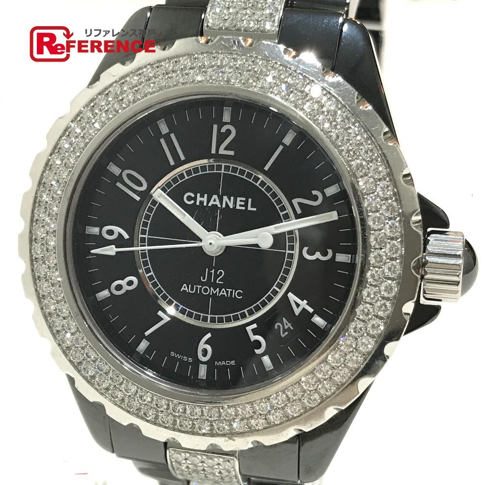 CHANEL シャネル H1339 J12 メンズ腕時計 センターダイヤベルト ダイヤベゼル 腕時計 ブラックセラミック/ダイヤモンド ブラック メンズ【中古】