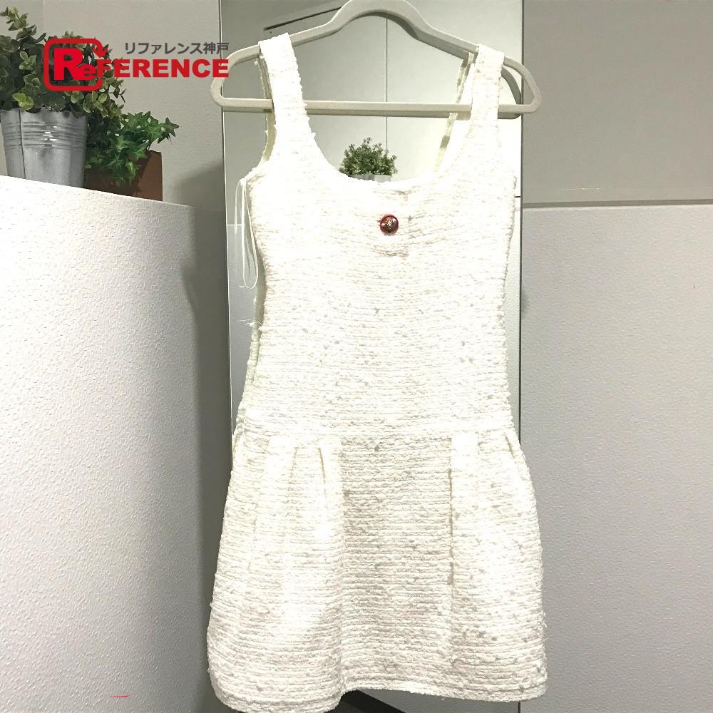 CHANEL シャネル P56051V29319 ワンピース 17P ファンタジー ツィード ドレス ホワイト レディース 未使用【中古】