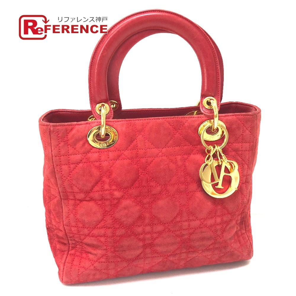 AUTHENTIC Christian Dior Lady CHRISTIAN DIOR suede Women s Bag Hand Bag  Red GoldHardware suede be61e16145