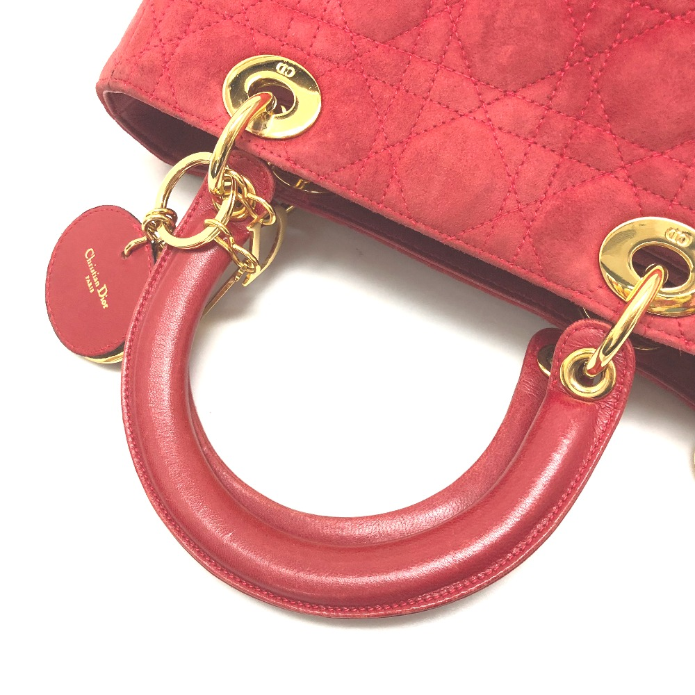 AUTHENTIC Christian Dior Lady CHRISTIAN DIOR suede Women s Bag Hand Bag  Red GoldHardware suede 7f4c399e3eeae