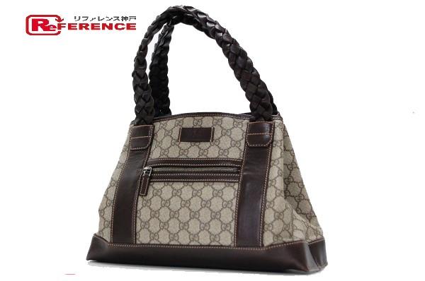 ca7ed93df84 AUTHENTIC GUCCI GG Plus Shoulder Bag Tote Bag Beige Dark Brown PVC x  Leather 140948