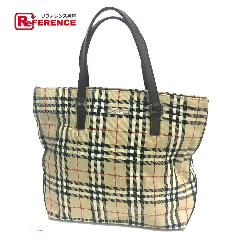 AUTHENTIC BURBERRY NOVA CHECK Logo Plate Blue label Tote Bag Beige Dark  Brown Canvas x Leather bbaf3a679c66b