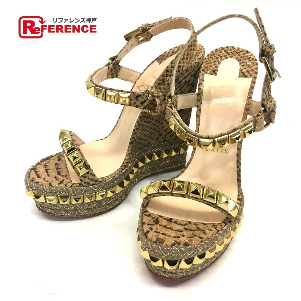 the latest 108e8 e8138 AUTHENTIC Christian Louboutin Unused Cataract Cork Studs Nude Snake Wedge  sole Sandals Beige/Gold 1160687 6