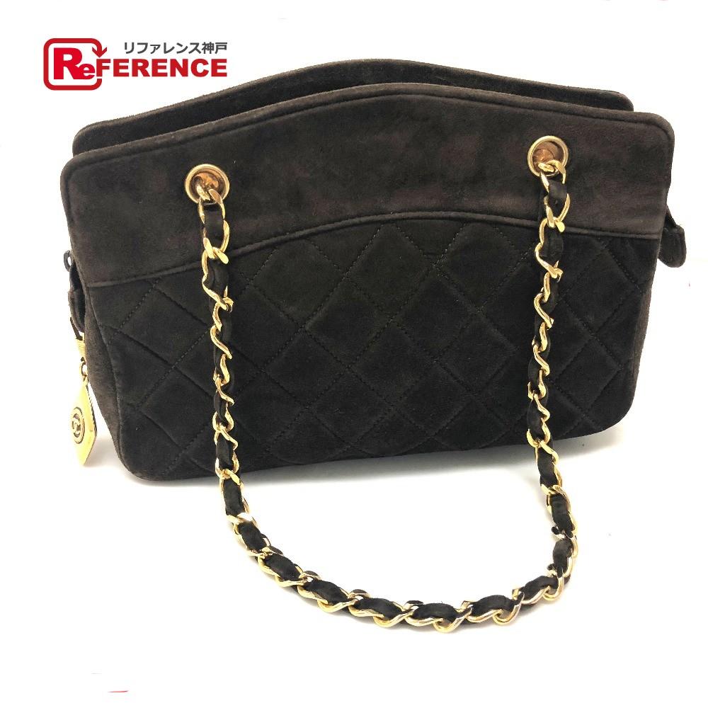 f3479bd8c250 AUTHENTIC CHANEL CC Matelasse Chain Bag Hand Bag Shoulder Bag Dark Brown  suede