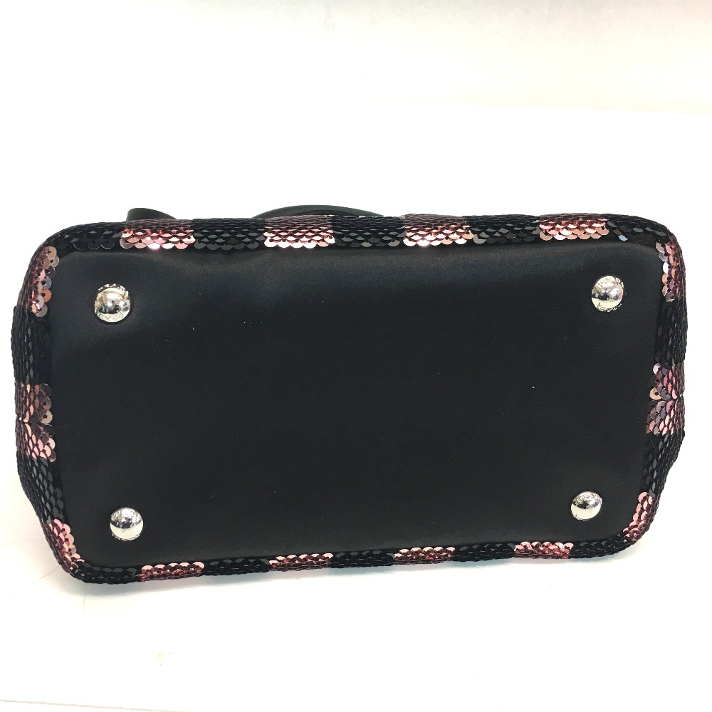 1d63211b24c1 AUTHENTIC PRADA Unused Mini Canapa Hand Bag Shoulder bag 2way bag Black/pink  Sequins/Satin 1BA038