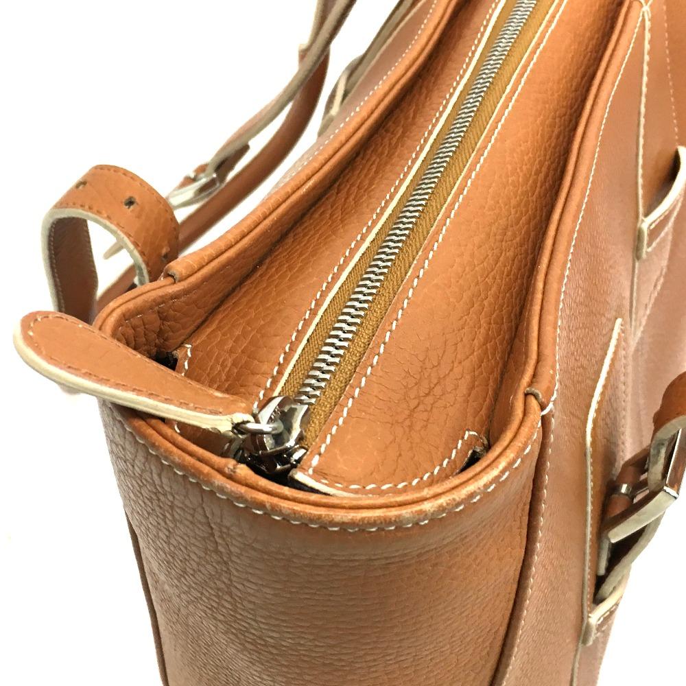 AUTHENTIC LOEWE Sender Men s Women s Shoulder Bag Tote Bag BrownBased  Leather 44c24456043c4